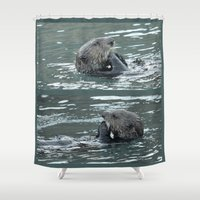 otters Shower Curtains featuring Crustacean Dinner by Alaskan Momma Bear