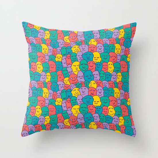 FACES OVER AND OVER Throw Pillow