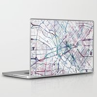dallas Laptop & iPad Skins featuring Dallas map by MapMapMaps.Watercolors