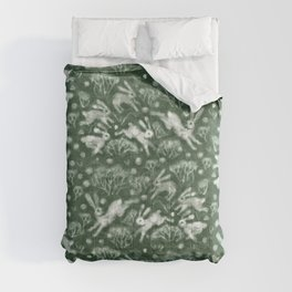 Hares Field, Jumping White Rabbits Winter Holidays Pattern,  Comforters