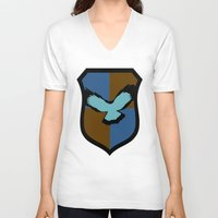 ravenclaw V-neck T-shirts featuring Ravenclaw Crest by Electric Unicorn