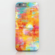 OFF THE GRID Colorful Pastel Neon Abstract Watercolor Acrylic Textural Art Painting Nature Rainbow  Slim Case iPhone 6