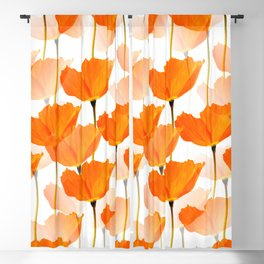 Orange Poppies On A White Background #decor #society6 #buyart Blackout Curtain