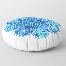 Mandala Iridescent Blue Green Floor Pillow