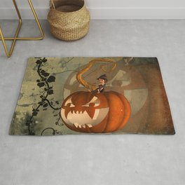 Funny pumpkin with little witch Rug