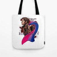 fandom Tote Bags featuring Fandom Pride : Bisexuality ( Dean Winchester) by Seraph Limonade