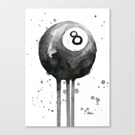 8-Ball Watercolor Black Pool Billiards Eight Ball Art Canvas Print