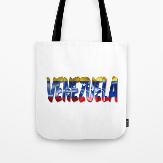 Venezuela Word With Flag Texture Tote Bag
