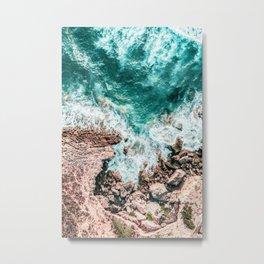 Aerial Ocean Print, Ocean Landscape, Beach Photography, Beach Print, Ocean Print, Ocean Water Metal Print