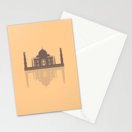 Taj Mahal - Minimalist Reflection - Orange  Stationery Cards