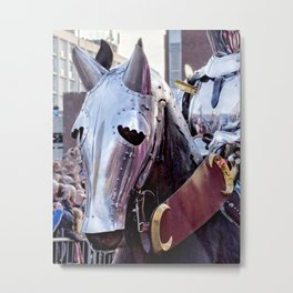 Armoured Horse And Knight Metal Print