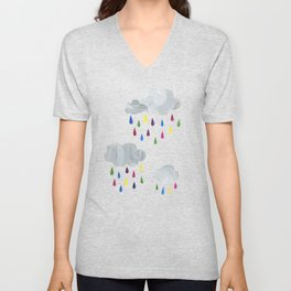Rainbow Rain Clouds Unisex V-Neck