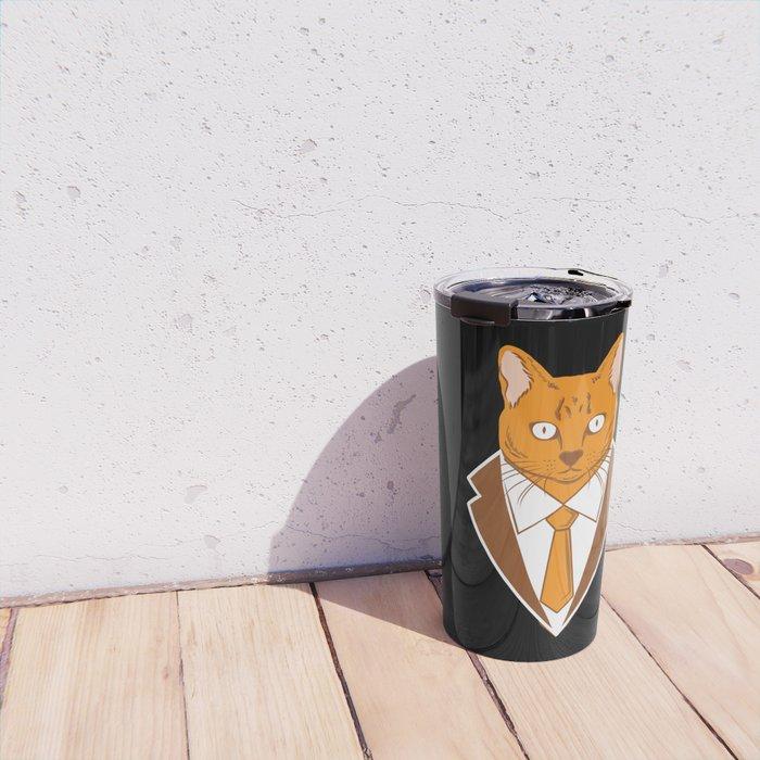 Business Trader Cat With Tie Kitten Feline Pet Owner Gift Travel Mug