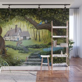 Enchanted Forest Cottage Wall Mural