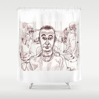 dentist Shower Curtains featuring At the Dentist by Jonas Ericson