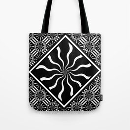 Wavy Black and White Diamond Pinwheels and Stripes 2 Digital Illustration Artwork Tote Bag