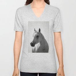 White horse portrait Unisex V-Neck