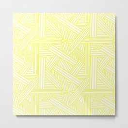 Sketchy Abstract (Light Yellow & White Pattern) Metal Print