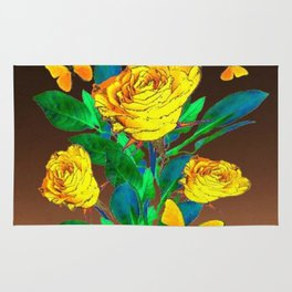 BROWN SHADES YELLOW SPRING ROSES & BUTTERFLIES Rug