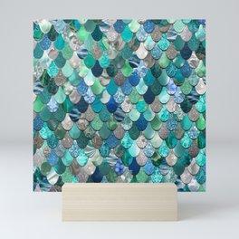 Mermaid Pattern, Sea,Teal, Mint, Aqua, Blue Mini Art Print