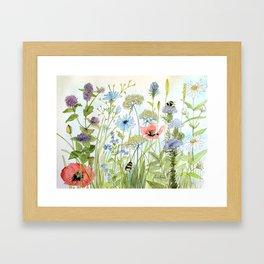 Floral Watercolor Botanical Cottage Garden Flowers Bees Nature Art Gerahmter Kunstdruck