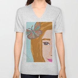 Butterfly Girl Unisex V-Neck