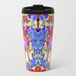Cognac-Cream Art Nouveau Morning Glories Abstract Travel Mug