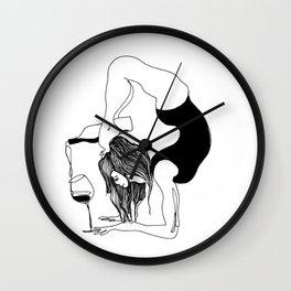 funny black and white yoga wine print, yoga woman, yoga gift, drawing, balance, modern, yogi, yogini Wall Clock