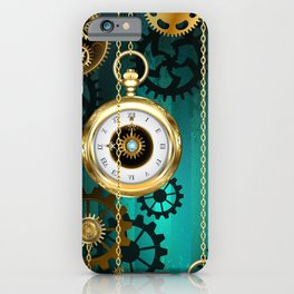 Steampunk Jewelry Watch on a Green Background iPhone Case