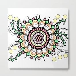 Doodle Art Flower Medallion - Pink Green Metal Print