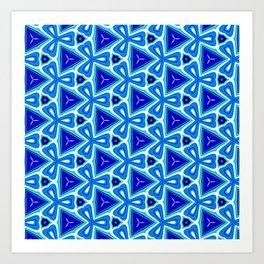 Bright blue Geometric Pattern Design Art Print