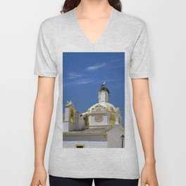 Stork on dome Unisex V-Neck
