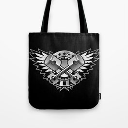Crossed Pistons and Wings with Stars and Stripes Logo for the Car and Motorcycle Enthusiast Tote Bag