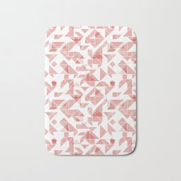 Peach pink tangram triangle pattern Bath Mat