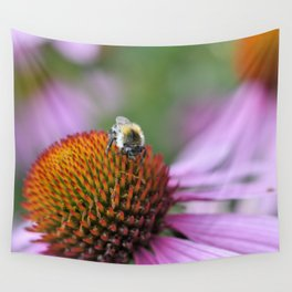 Bumblebee on pink flower Wall Tapestry