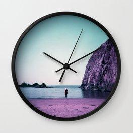 Lonely Purple Girl on the Oregon Coast - Holga film photograph Wall Clock