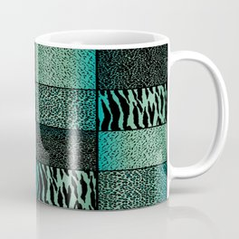 Teal and Black Exotic Animal Patterns Coffee Mug