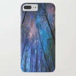 Black Trees Dark Blue Space iPhone Case