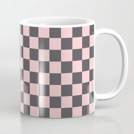 Gingham Millennial Pink Blush Rose Quartz Coco Brown Neapolitan Checked Coffee Mug
