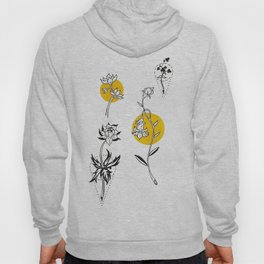 Wildflowers Circular Gold Ink Illustration Hoody