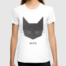 MEOW White Womens Fitted Tee MEDIUM