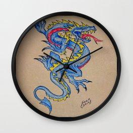 blue dragon parchment card Wall Clock