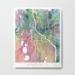 Minneapolis City Watercolor by Zouzounio Art Metal Print