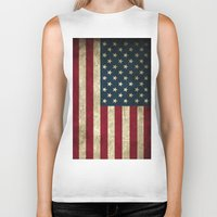 american flag Biker Tanks featuring American Flag  by  Can Encin