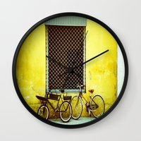 bicycles Wall Clocks featuring Bicycles by The Dalai Lomo
