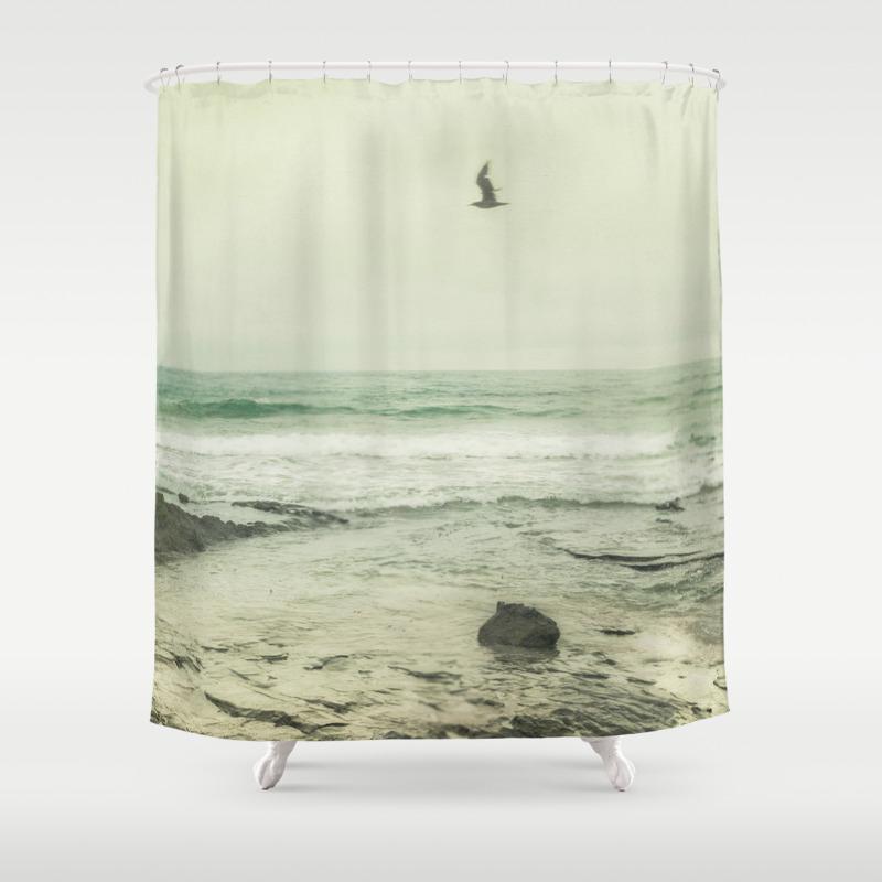 Flying Solo California Coast Beach Modern Home Decor Shower Curtain