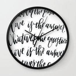Love is the Answer Calligraphy Wall Clock