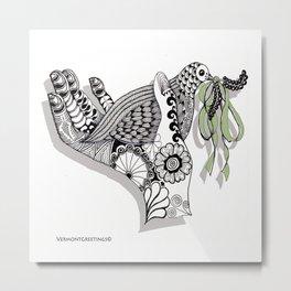 Zentangle Illustration - Peace Dove  Metal Print