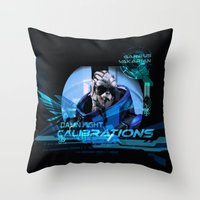 garrus Throw Pillows featuring Garrus Vakarian with shades by TheEmbraced