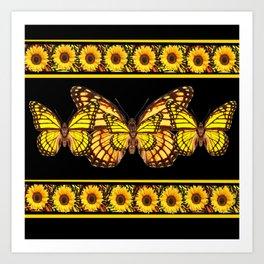 YELLOW MONARCH BUTTERFLIES & SUNFLOWERS BLACK ART Art Print